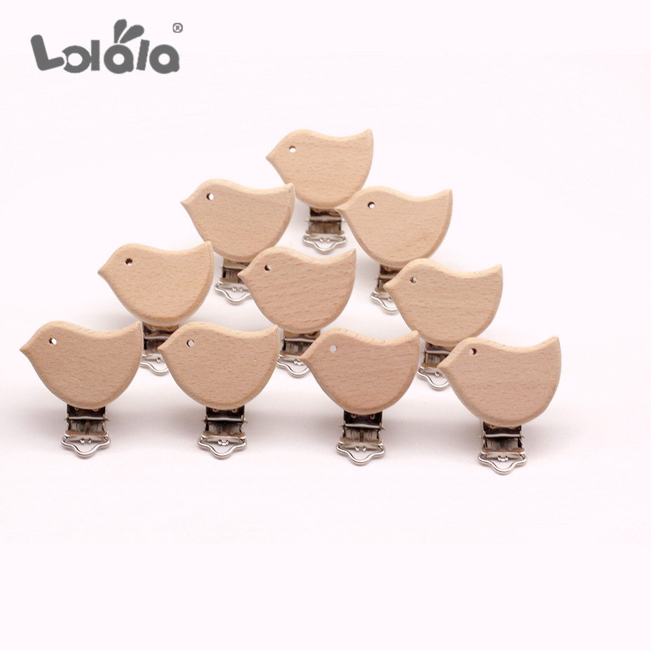 10Pcs Cute Dummy Clip Natural Wooden Beech Wood Baby Pacifier Clips Nipple Holder DIY Pacifier Clips Chain Holders Accessories