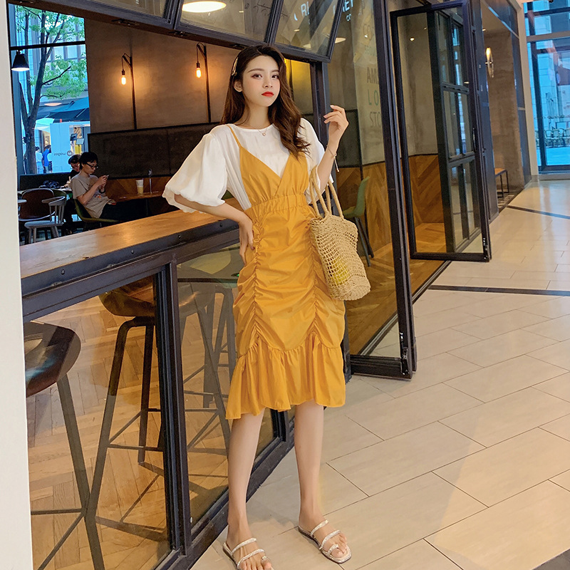 Photo Shoot Dress Summer 2019 New Style Irregular Pleated Camisole Puff Sleeve Tops Two-Piece Skirt F7308