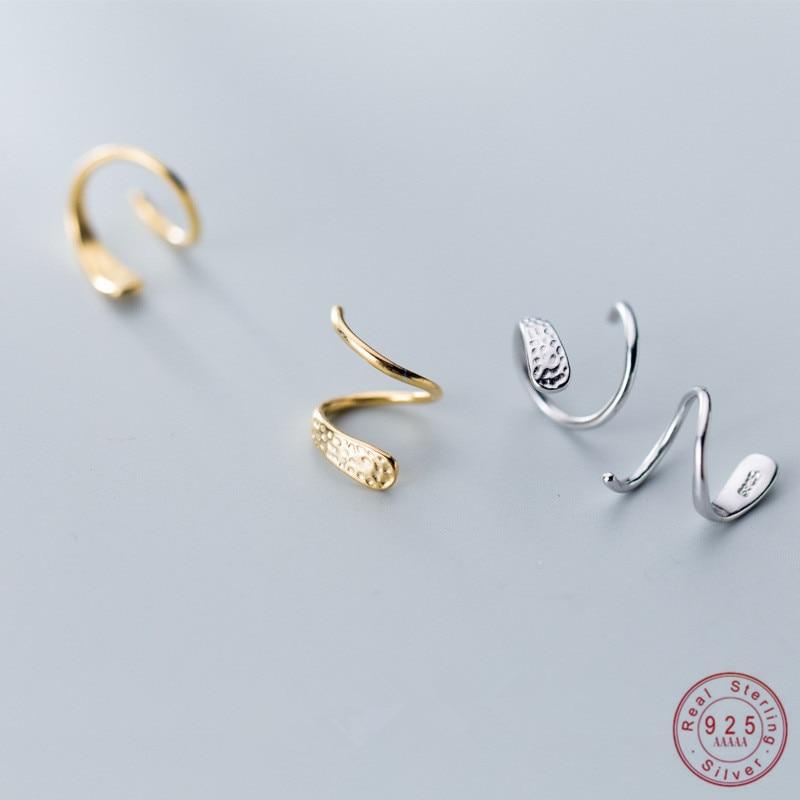WANTME Genuine 925 Sterling Silver Jewelry Personality Minimalist Spiral Snakelike Ear Bones Ear Buckle Stud Earrings for Women