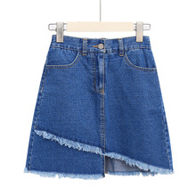цена на Female jeans skirt wash plus size skirt irregular jupe femme raw edge jeans skirt skirt