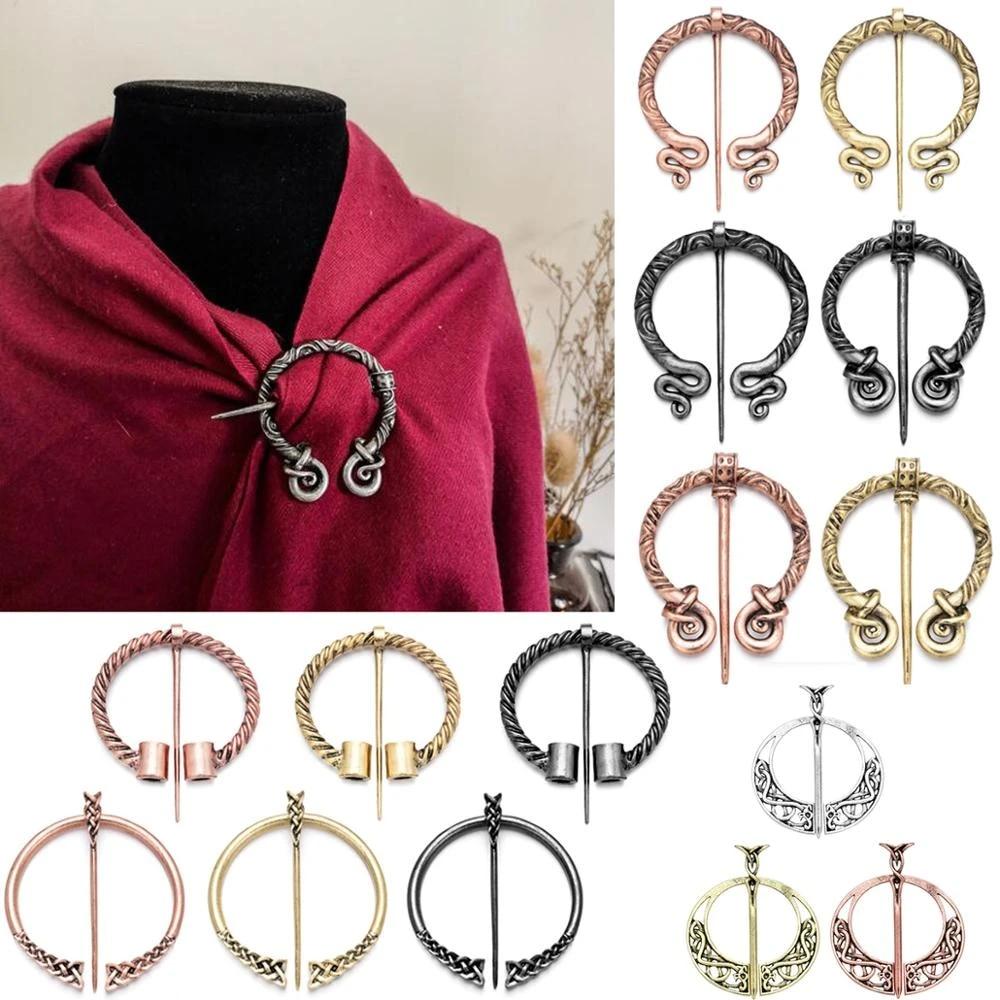 Brooch for shawl Viking-inspired brass fibula.