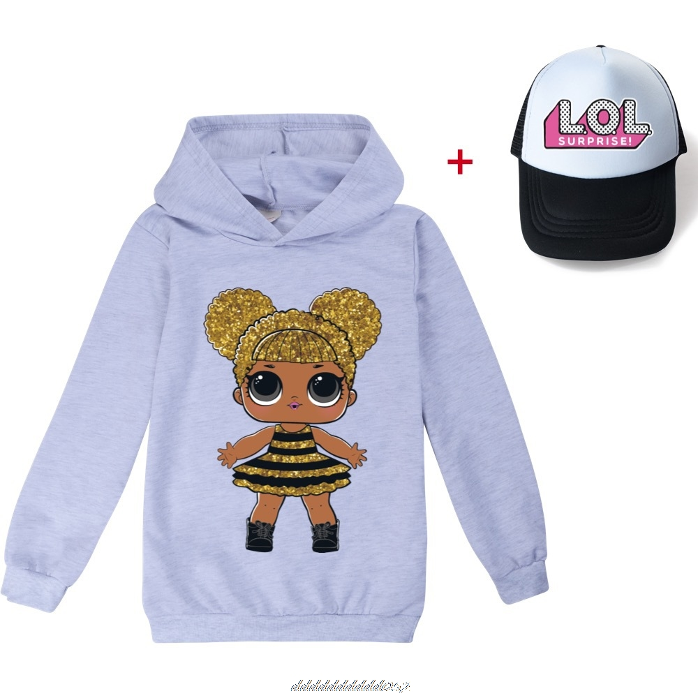 Gris L.O.L. SURPRISE! Hoodies Girl Fashion Hoodie Children Casual Pullovers Printed Sweaters Long Sleeves Kids Autumn Clothes 5