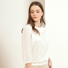 Jinju spring and summer new round neck solid color wild temperament professional fashion silk women's shirt
