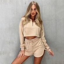 Feminino 2 pçs outono 2020 zip up terno esportivo laço-up envolto peito manga longa com zíper moletom recortado elástico calções de cintura alta