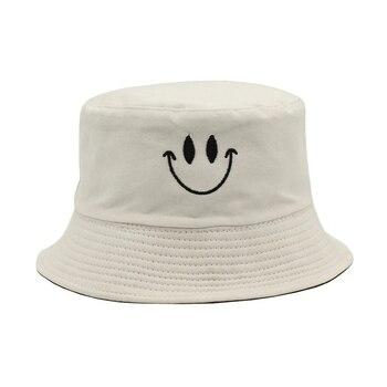 Sombrero Reversible de Panamá con bordado de cara sonriente, sombrero con forma...