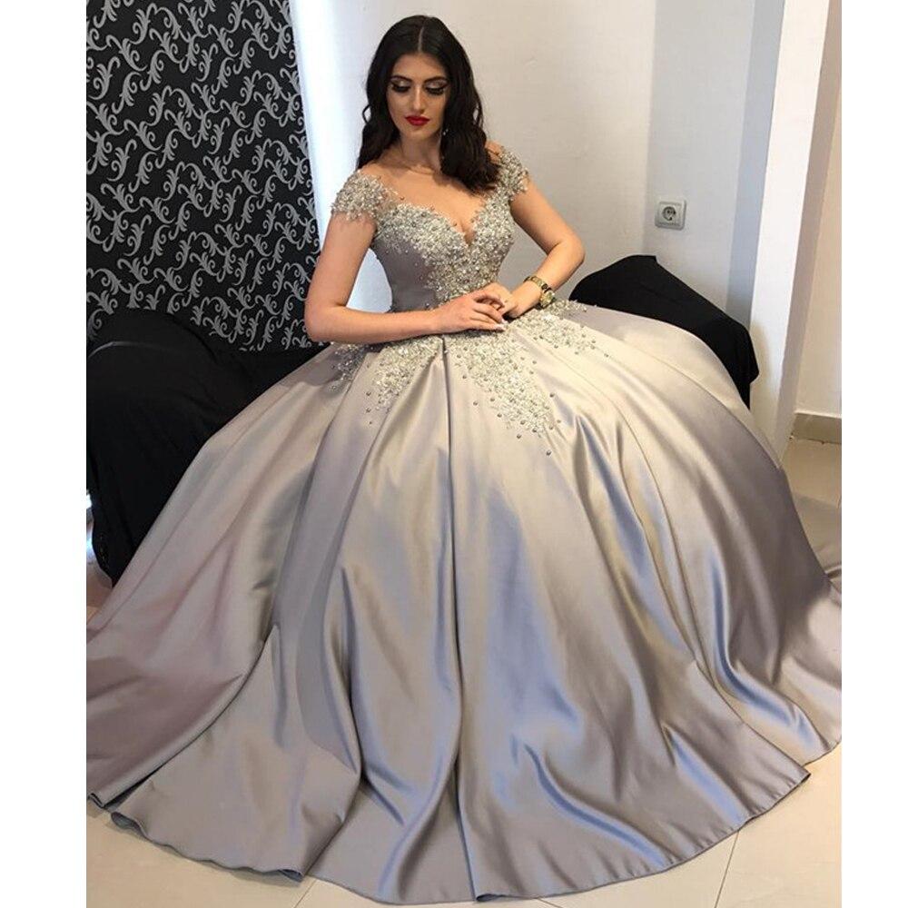 2020 Custom Made Ball Gown Evening Dress Long Pearls Abiti Da Cerimonia Da Sera Vintage Elegant Formal Dresses 2020