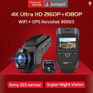 Image 1 - Junsun S590.P 24h park monitörü 4K WiFi GPS araba dvr Dash kamera 2160P gece görüş çift Lens araç kaydedici 1080P arka kamera