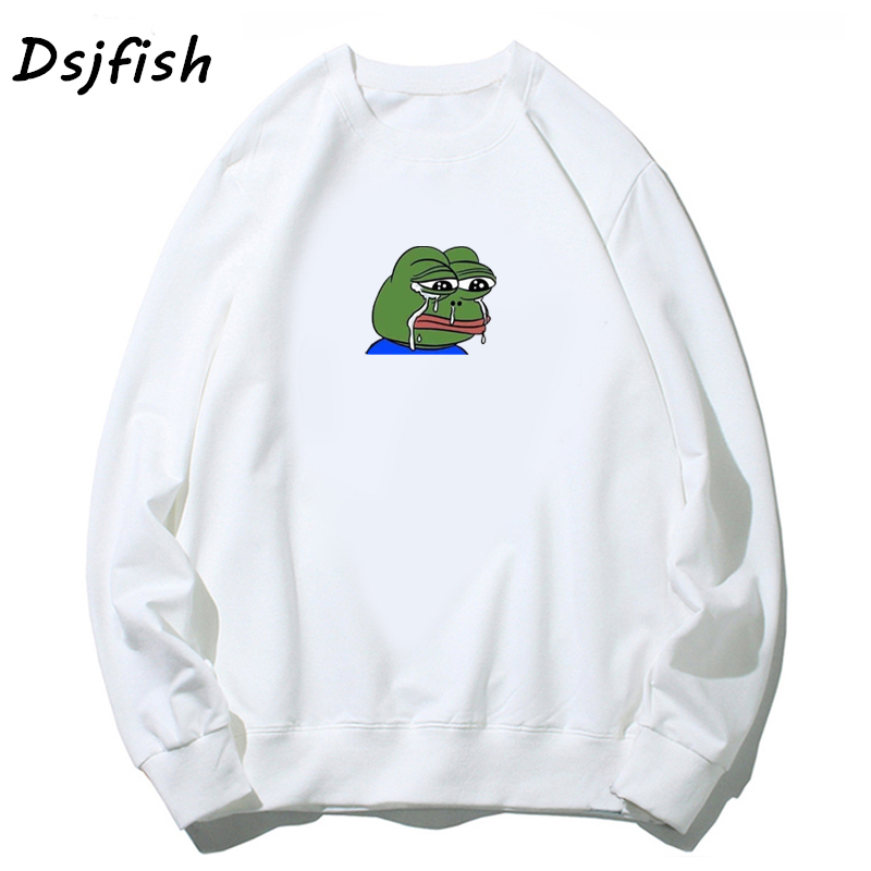 Sad Tearing Frog Print Hoodies Men/Women Sweatshirts Funny Pepe Cartoon 2019 Harajuku Hip Hop Sweatshirt Male Japanese Hoodie