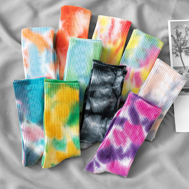 Tie-Dye Socks Skateboard-Socks Basketball Street-Trend Tide Solid-Color Women Cotton