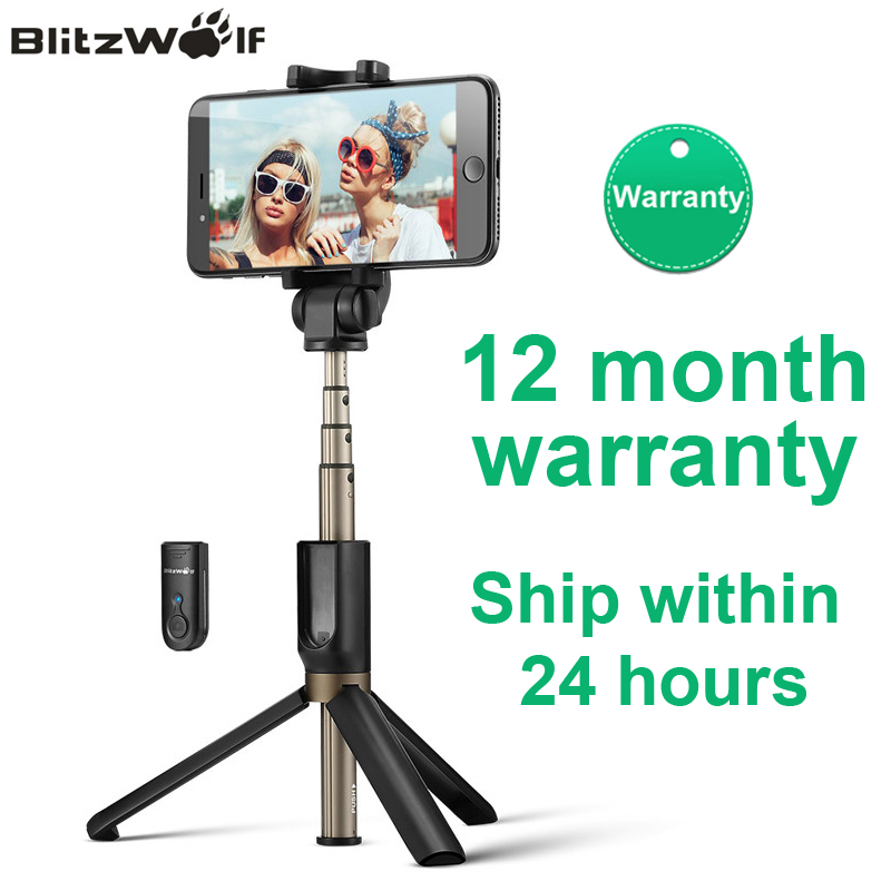 BlitzWolf BS3 Wireless bluetooth Selfie Stick Mini Tripod Extendable Foldable Monopod For iPhone For Samsung Xiaomi Huawei Phone(China)