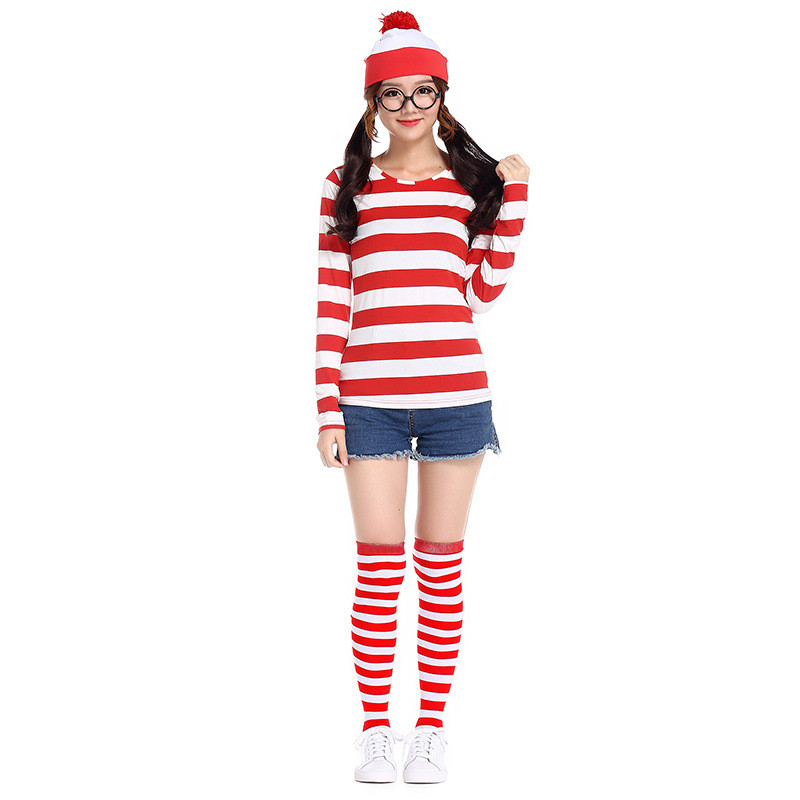 Where/'s Wally Waldo Now Red/&/&White Cosplay Costume Shirt Sweater+Hat+Glasses
