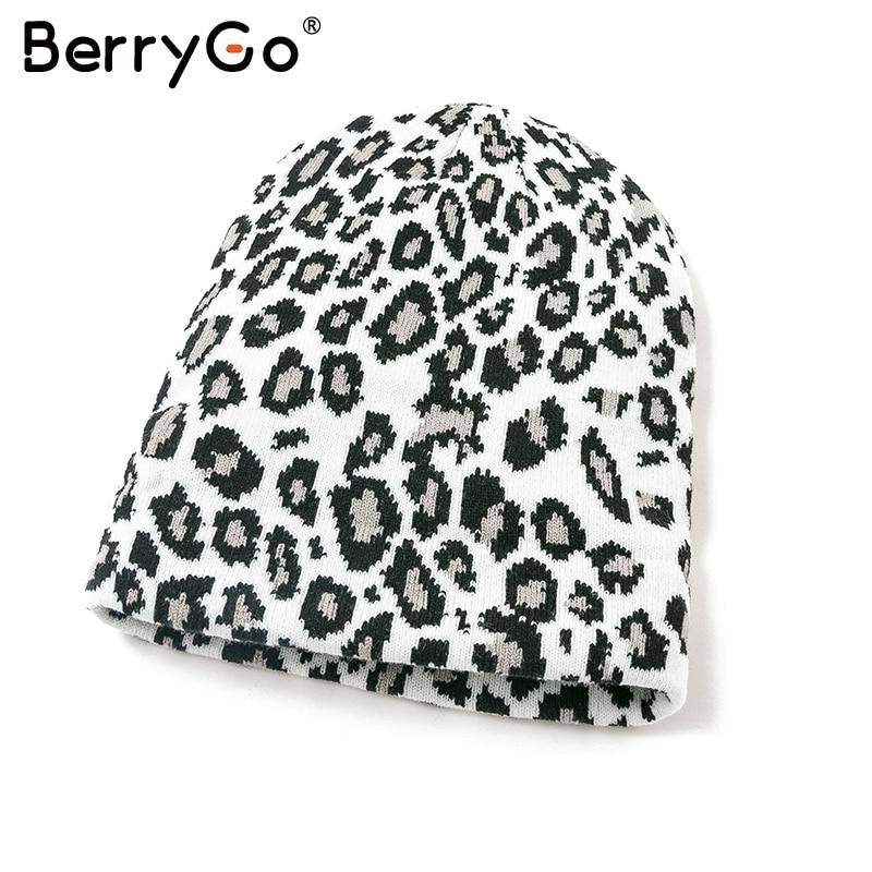BerryGo Elastic Knitted Leopard Print Hat Fashion Dance Hip Hop Hat Casual Autumn Winter Soft Warm Comfort Streetwear Hat 2019