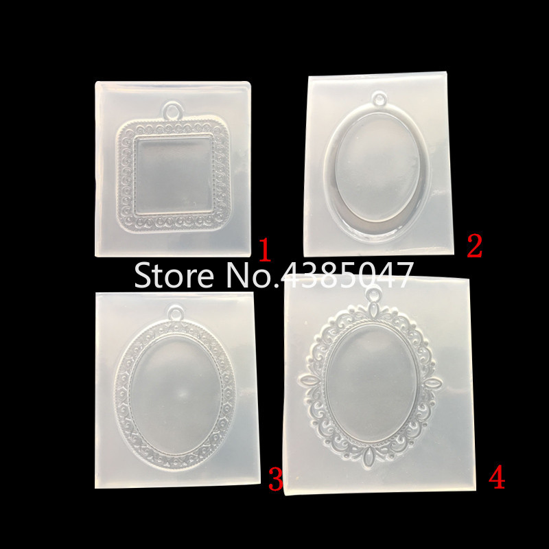 Liquid Silicone Mold Base Frame Molds Pendant DIY Silicone Mold Dried Flower Jewelry Accessories Tools Equipments Resin Molds