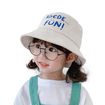 Child Cap Spring Summer UV Protection Unisex Kids Sun Hat For Boy Girl Beach Bucket Wide Brim Letter Printed 4-8 Years