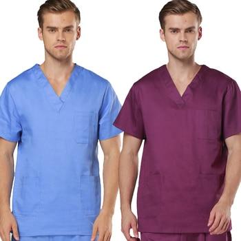 [TOP] Men's Short  Sleeve V Neck COTTON Super Comfy Medical Scrubs TOP / Nursing Uniform - discount item  45% OFF Work Wear & Uniforms