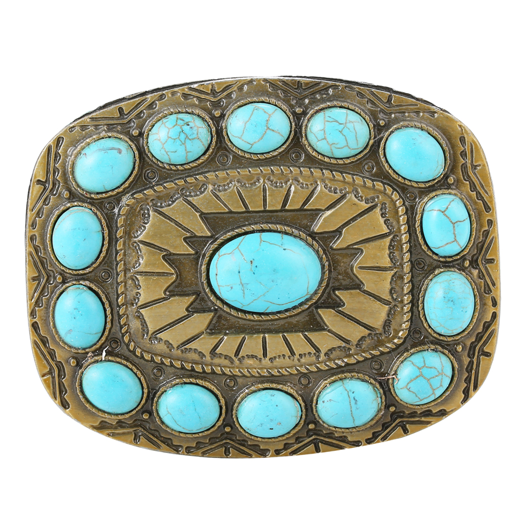 Vintage Antique Turquoise Belt Buckle Western Cowboy Jeans Accessories