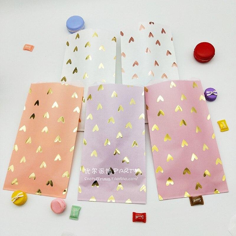 100pcs Wedding Favor Bag Bridal Shower Wedding Birthday Anniversary Favor Candy Gift Paper Bag Pink And Gold Foil Heart