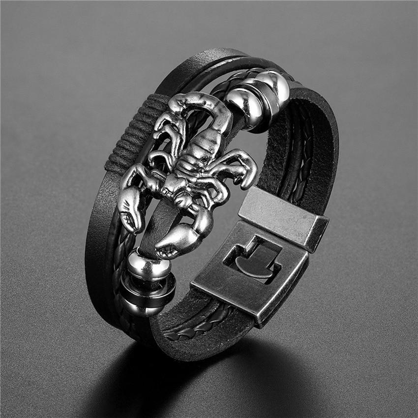2020 New Handmade Retro Woven Charm Leather Bracelet Men Vintage Multilayer Bangles Scorpion Men Jewelry Pulseira Feminina TZ611