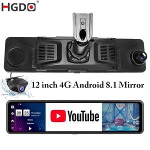 HGDO 12'' 4G Car DVR Mount Android 8.1 ADAS Rear View Mirror Camera FHD 1080P WiFi GPS Dash Cam Registrar Video Recorder 2G+32G