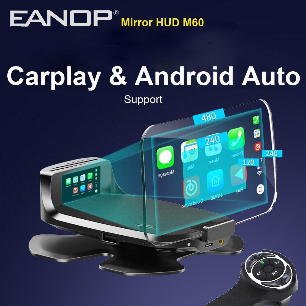 Eanop hud m60 cabeça do carro up display sem fio espelho velocidade projetor suporte carplay andorid carro para todos os carros obd & carregador de carro