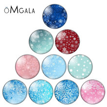 Winter Snowflake Christmas 10pcs mixed 10mm/12mm/18mm/20mm/25mm/30mm Round photo glass cabochon demo flat back Making findings
