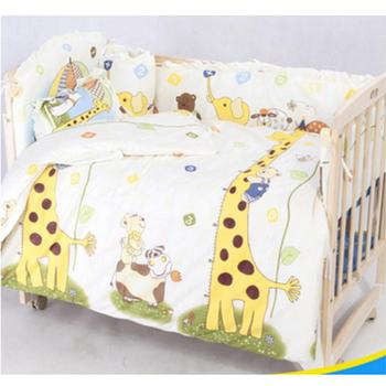 цена на 100*58cm/110*60cm 5pcs/Set Promotion Cotton Baby Children Bedding Set Comfortable Crib Bumper Baby Organizer Cot Kit