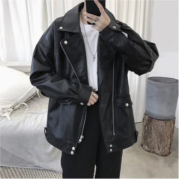 2019 Autumn And Winter New Listing Lapel Motorcycle Leather Fashion Casual Loose Solid Color Jacket Tide Black M-2XL