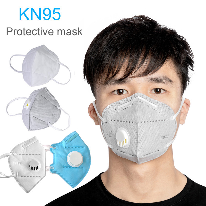 10PC KN95 Face Mask Dustproof Windproof Respirator Valve  2.5 Respirator Mask With Breath Valve Anti-Pollution Face Mouth Mask