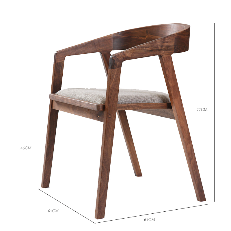 Nordic solid wood dining chair wrought iron modern minimalist restaurant backrest home desk chair computer chair leisure office