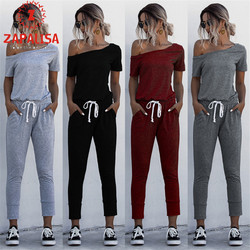 Fashion Women Summer Solid Color Jumpsuits Drawstring Design Pockets Decor Oblique Collar Short Sleeve Mid Waist Slim Jumpsuits