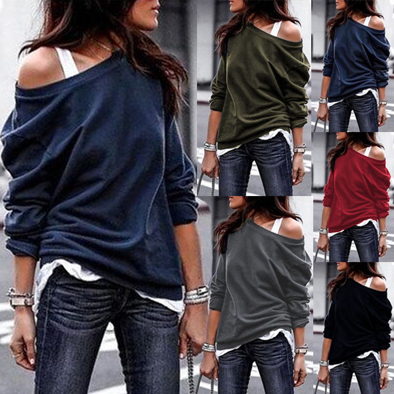 Women Long Sleeve Pullovers One Shoulder Sweatshirts Sexy Slash Neck Tops 2020 Female Autumn Fashion Loose Hoodies Plus Size 3XL