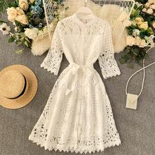 Summer Dress Embroidery A-Line Robe Sexy Vestidos Holiday Party Vintage Hollow W
