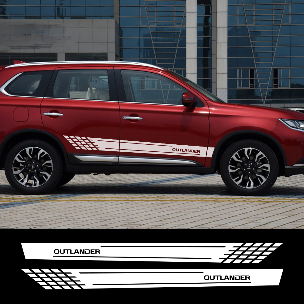 2pcs Car Side Door Sticker DIY Auto Sport Personalized For Mitsubishi Outlander Vinyl Film Decal Styling Car Tuning Accessories
