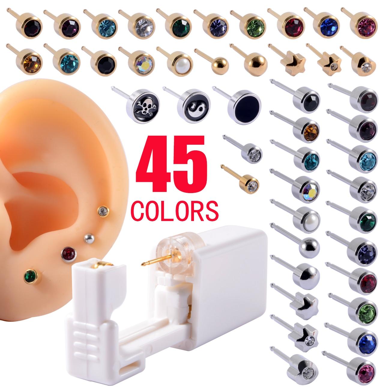 1PC Disposable Sterile Ear Piercing Unit Cartilage Tragus Helix Piercing Gun NO PAIN Piercer Tool Machine Kit Stud Ball Earrings 1