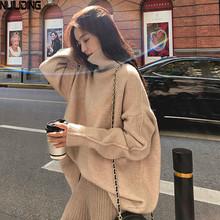 NIJIUDING kobiety luźne leniwy jesień zima grube swetry nosić 2020 nowy Turtlenck koszula z dzianiny długim rękawem swetry wełniane topy tanie tanio COTTON Z wełny CN (pochodzenie) Wiosna jesień Blend Komputery dzianiny Stałe REGULAR Golfem Osób w wieku 18-35 lat Pełna