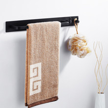 Nail-free space black towel rail strip bracelet bracelet bracelet bracelet personal towel bracket bath towel accessories(China)