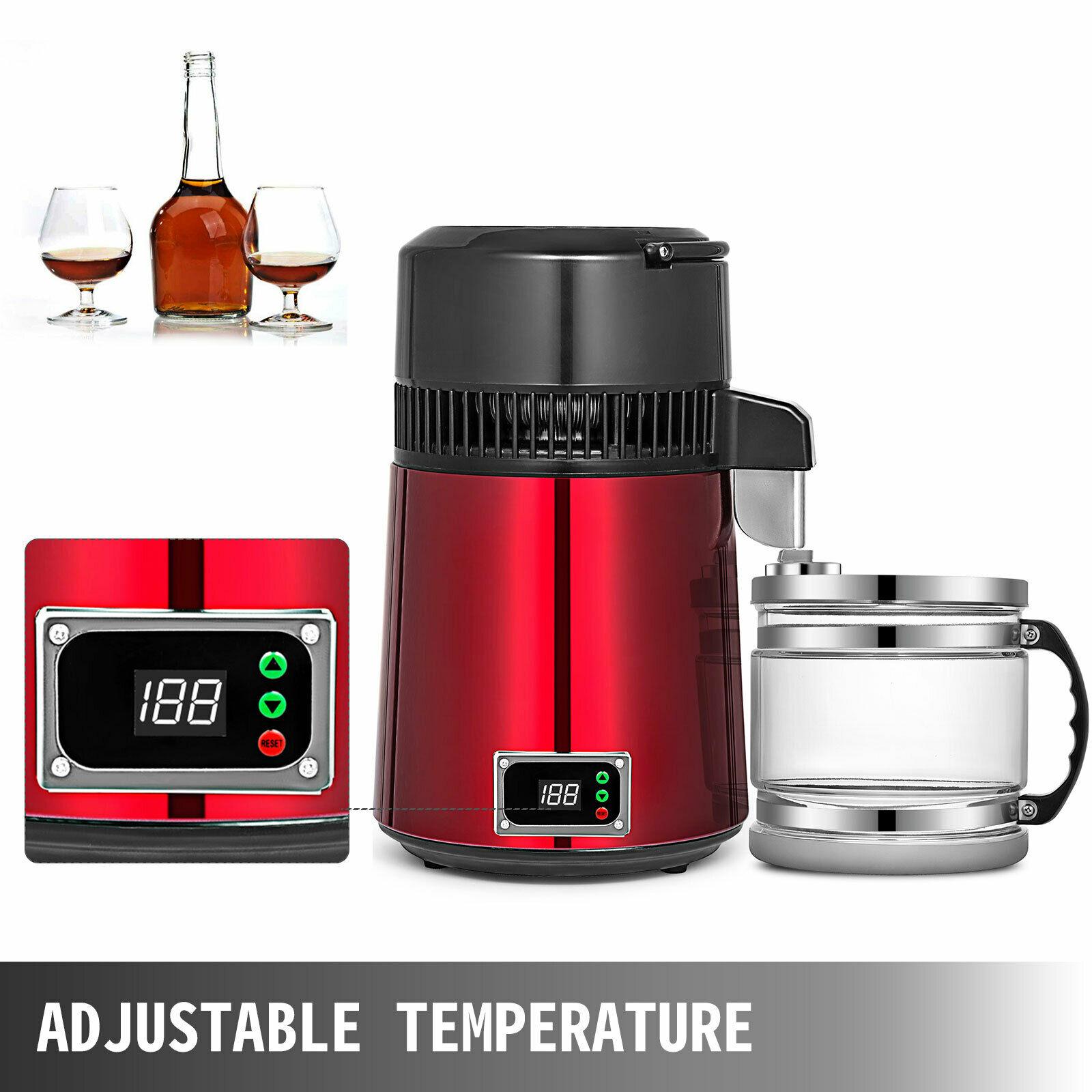 Su damıtma cihazı alkol 4L 750W elektrikli diş/tıbbi/Lab ev su damıtma cihazı