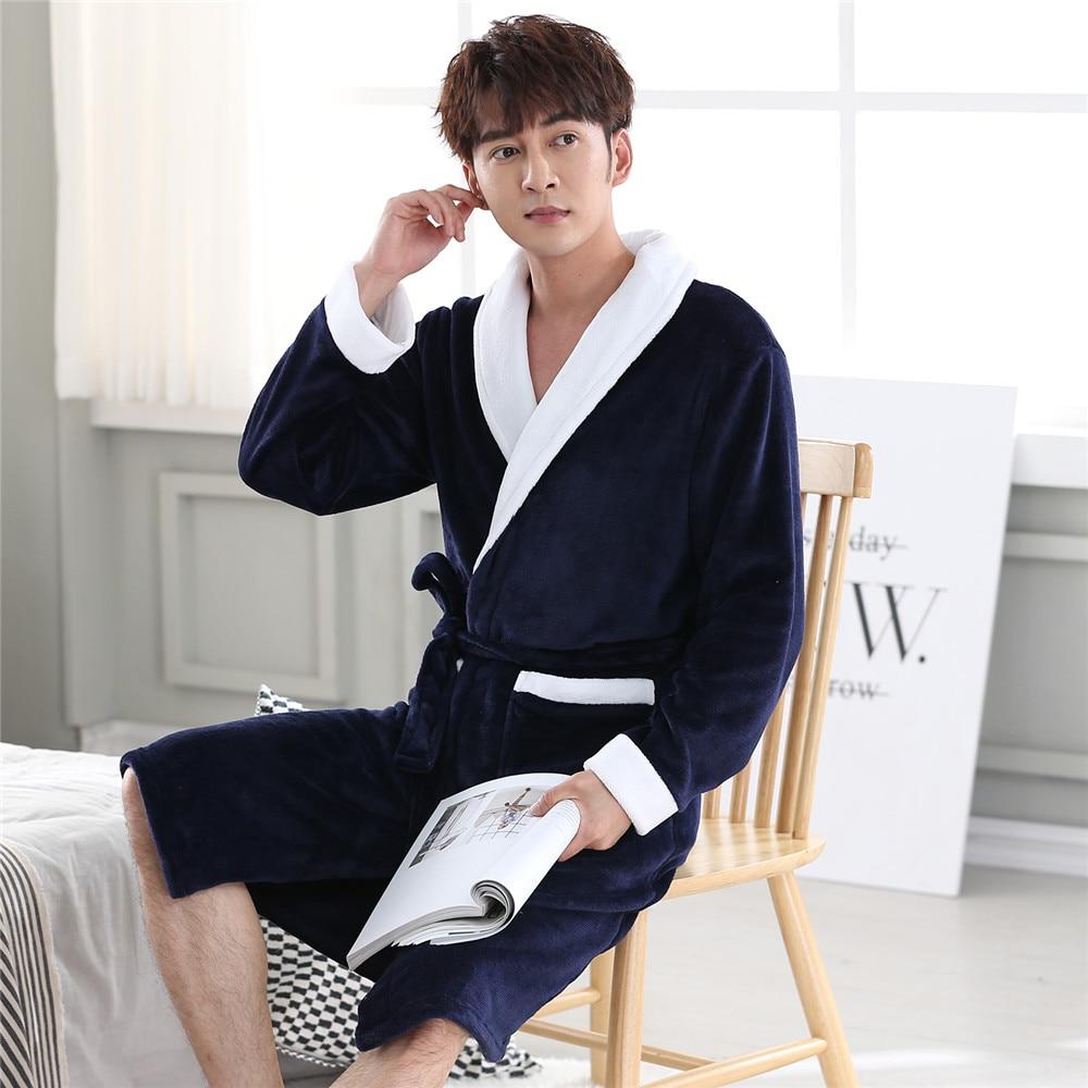 Men Long Robe Coral Fleece Padded Sleepwear Loose Casual Softy Kimono Gown Warm Winter New Bathrobe Nightwear Intimate Lingerie