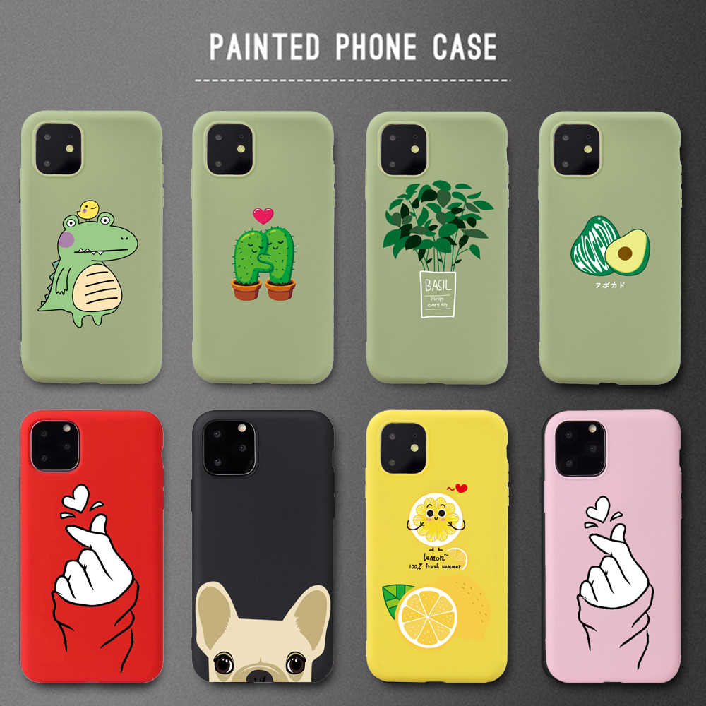 Etui na telefon iPhone 11 Pro X 6 6s 7 8 Plus XR XS Max Cartoon piękne miękkie etui tpu Capa Fundas Coque Funy Love Heart