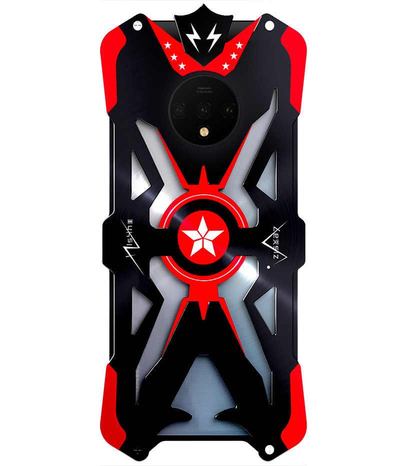 Voor OnePlus 7 T 7 T Case Armor Heavy Stof Metalen Aluminium bescherm phone case beugel Raytheon Shockproof armor
