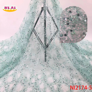 Newest Fabric African Lace, Newest Bridal Lace Dresses, Sequin Mesh Fabric Nigeria Material Ni2074