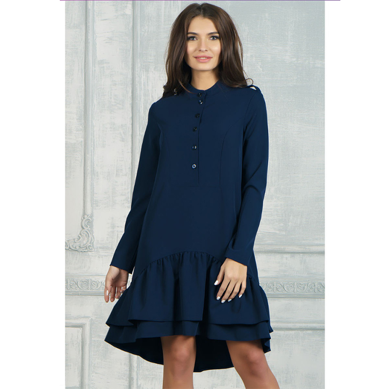 Femmes Vintage à volants avant bouton a-ligne robe à manches longues O cou solide élégant tenue décontractée 2019 automne nouvelle mode robe