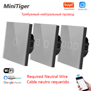 Minitiger EU Standard 1/2/3 Gang Tuya/Smart Life WiFi Wall Light Touch Switch Neutral Wire Wireless Control Touch Light Switch