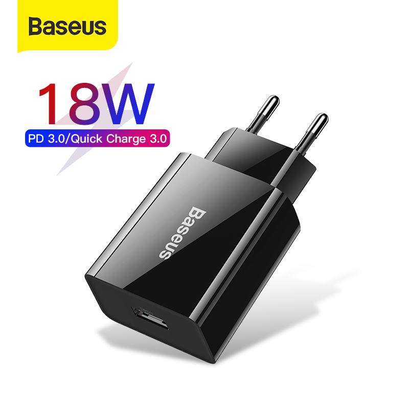 Baseus 18W Fast USB Charger Support Quick Charge 3.0 USB Type-C PD 3.0 Fast Charging Mini Portable USB Phone Charger