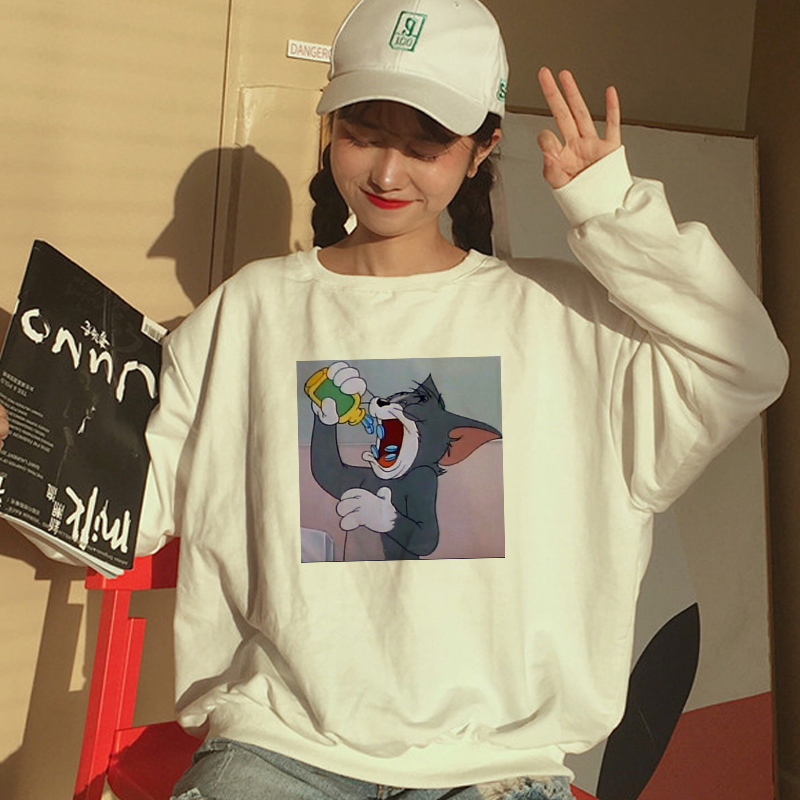 Autumn New Harajuku Fun Tom Cat And Jerry Mouse Print Casual Sweatshirt Ulzzang Fashion Large Size Loose Hood O-neck Sweatshirt