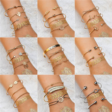 WUKALO 2019 New Fashion Bohemian Bracelets & Bangles Gold Color Vintage Charm Bracelet Set For Women Jewelry Gifts