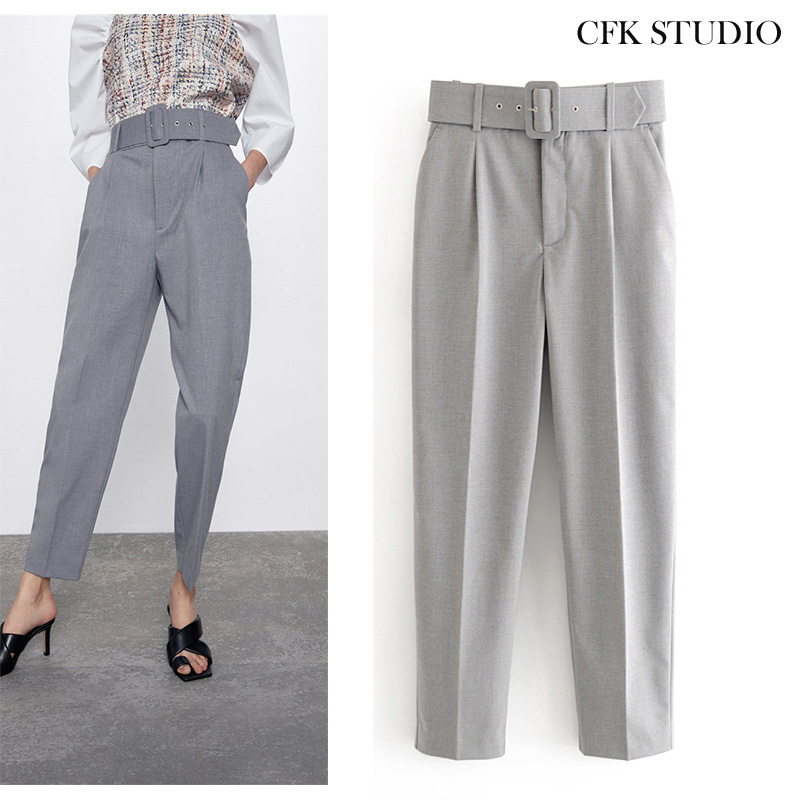 Za  Women Pants With High Waist Belt Solid Elegant Office Wear Long Grey Trousers