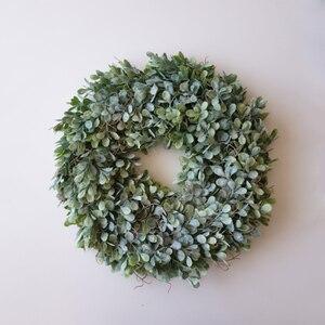 Image 3 - מלאכותי ירוק עלים זר 17.5 אינץ מול דלת זר פגז דשא תאשור זר קיר חלון המפלגה דקור