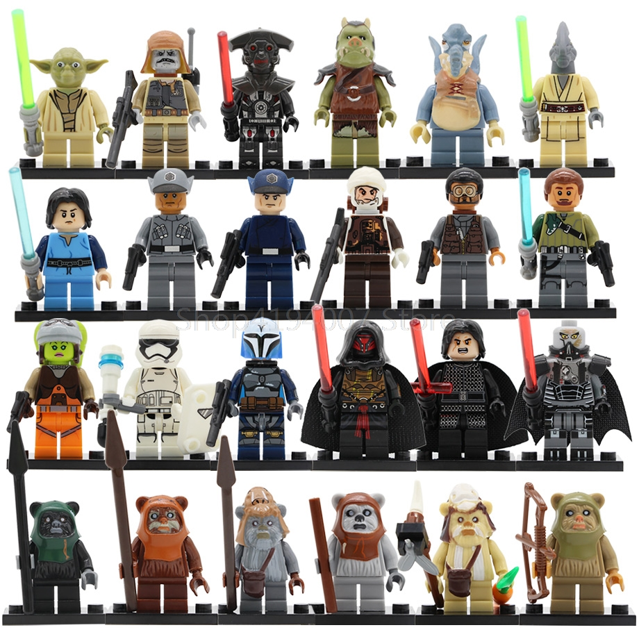 Star Wars Ewok Warrior Figure Darth Revan Yoda Coleman Trebor Logray Tokkat Dengar Gamorrean Paploo Building Blocks Toys Legoing image