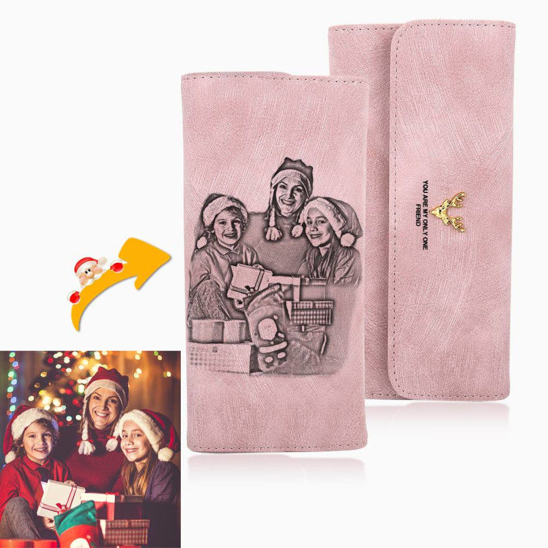 Custom Wallet Ladies Long Lantern Wallet Custom Picture Carved Pink Wallet Christmas Gift Purse